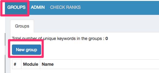 管理画面の「GROUPS」>「New group」をクリック