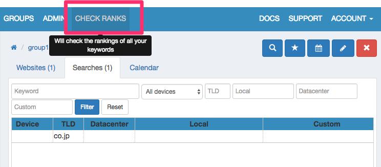 「CHECK RANKS(検索順位客員)」をクリック