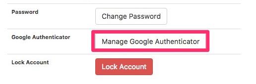 「Manage Google Authenicator」をクリック