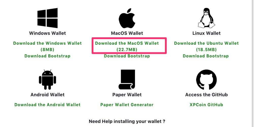 「Download the MacOS Wallet (22.7MB)」をクリック
