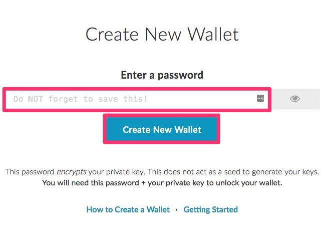 フォームにパスワードを入力し、「Create New Wallet」をクリック
