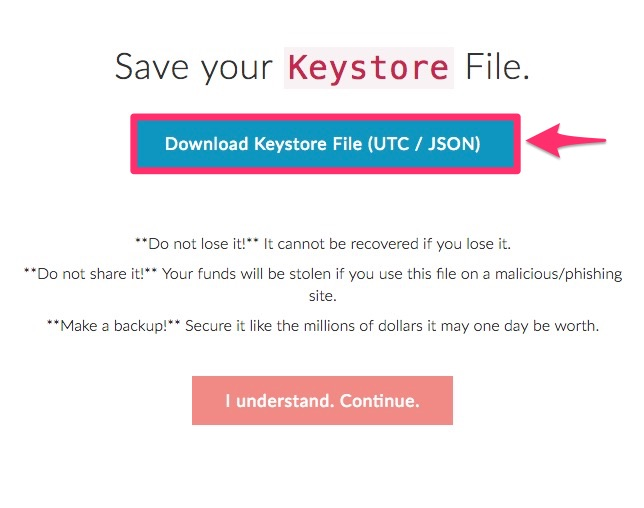 「Download Keystore File(UTC / JSON)」をクリック
